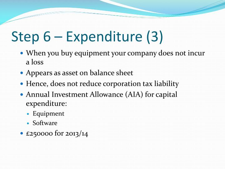 Step 6 – Expenditure (3)