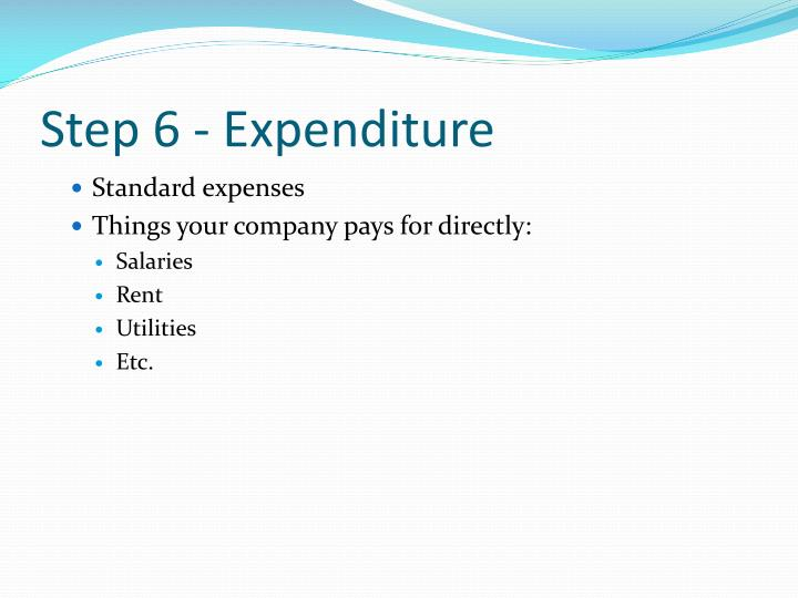 Step 6 - Expenditure