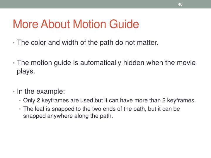 More About Motion Guide