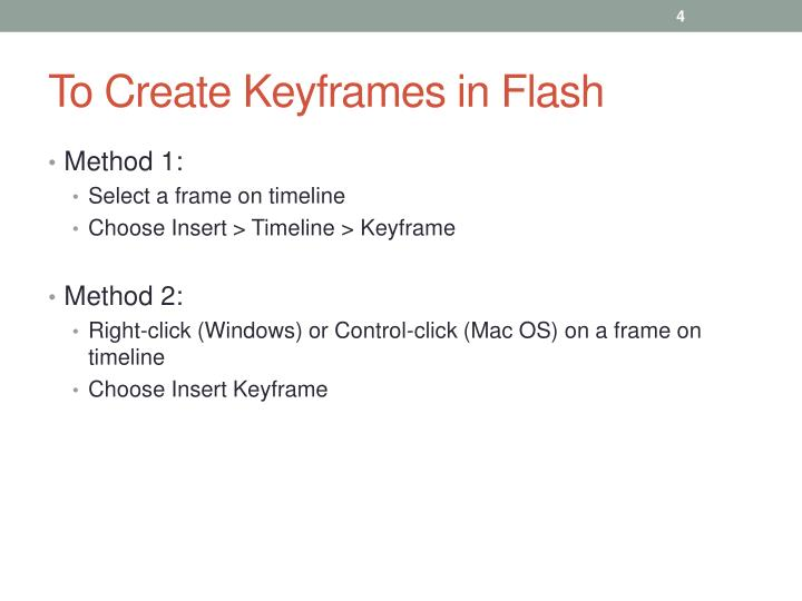 To Create Keyframes in Flash