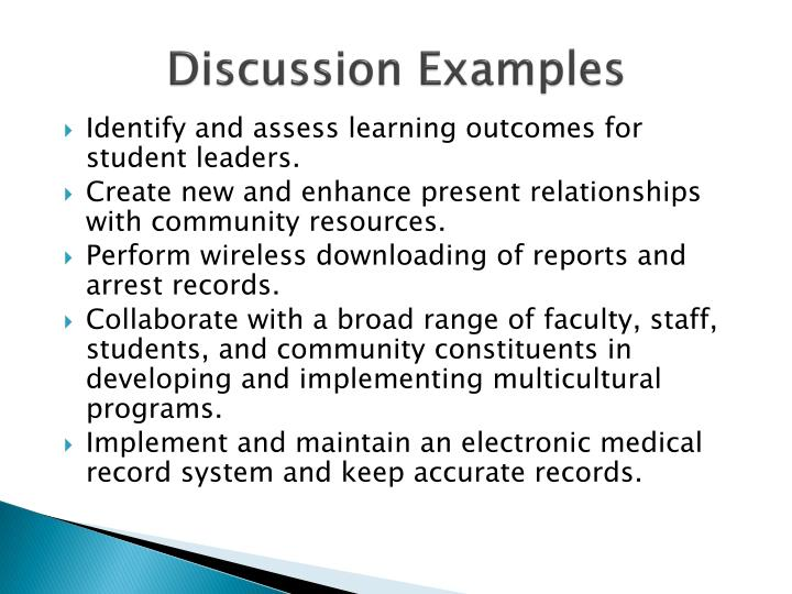 Discussion Examples