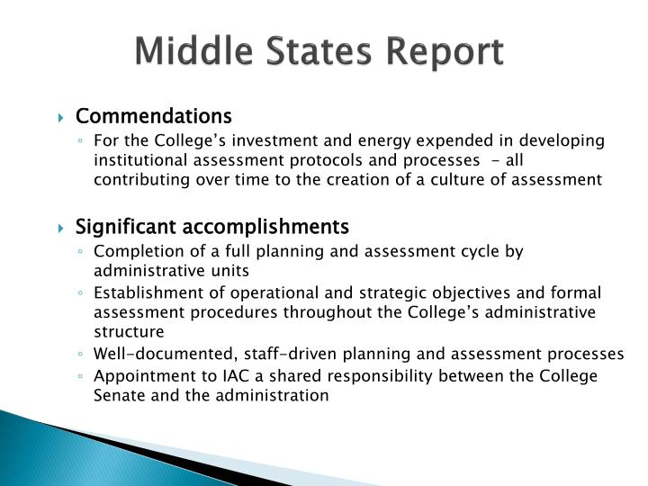 Middle States Report
