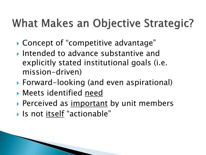 What Makes an Objective Strategic?