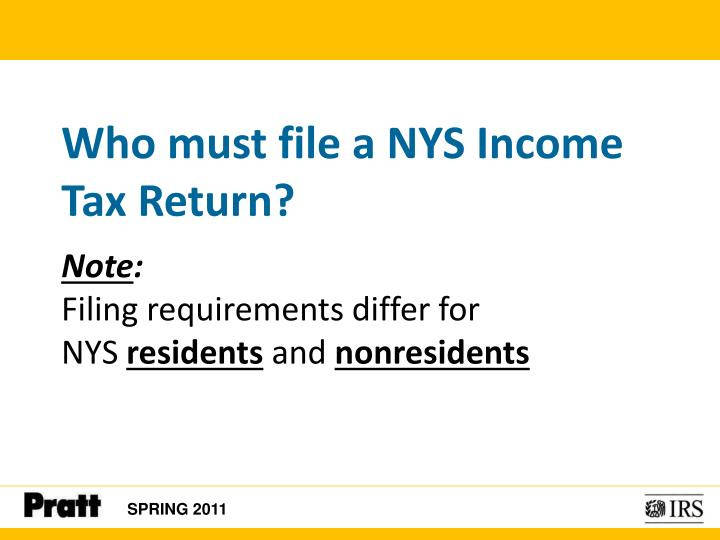 Who must file a NYS Income Tax Return?