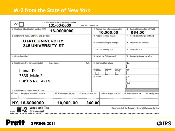 W-2 from the State of New York