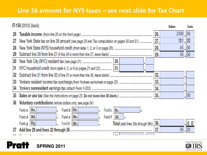 Line 26 amount for NYS taxes – see next slide for Tax Chart