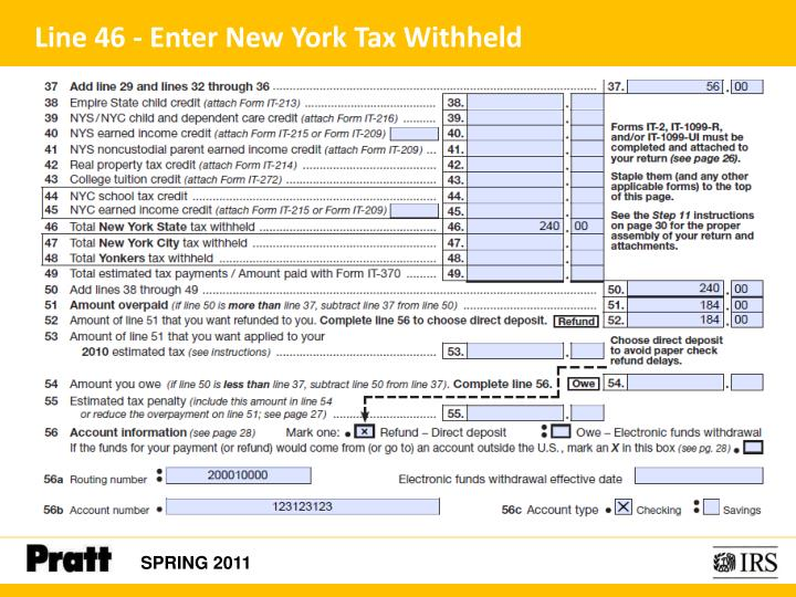 Line 46 - Enter New York Tax Withheld
