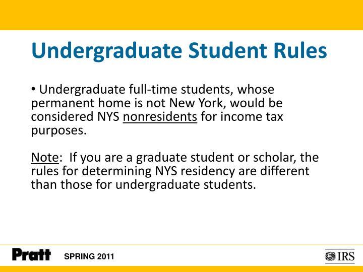 Undergraduate Student Rules