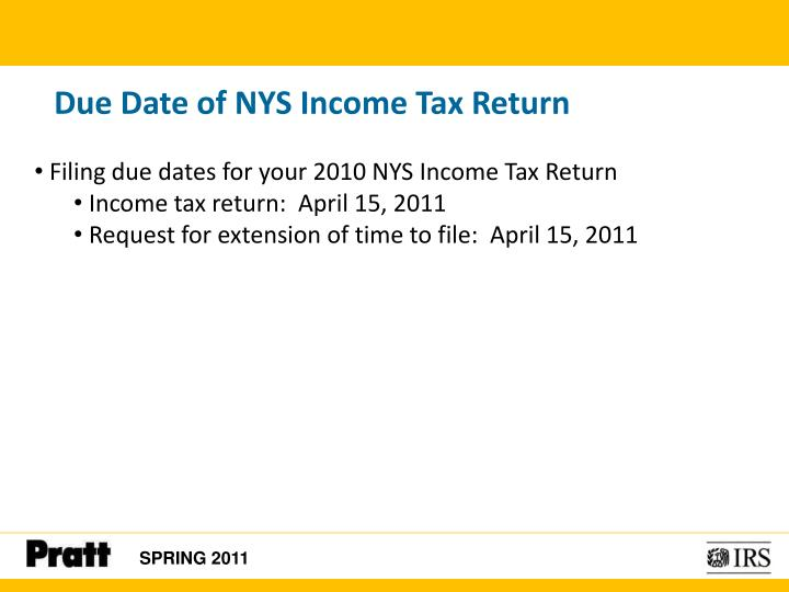 Due Date of NYS Income Tax Return