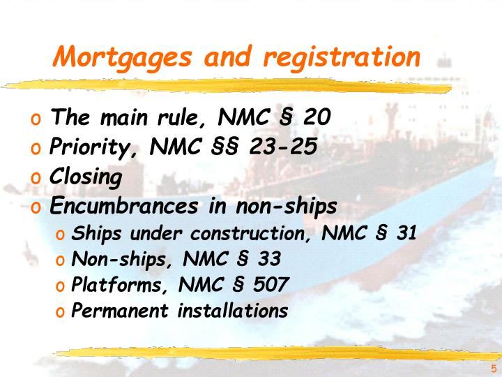 Mortgages and registration