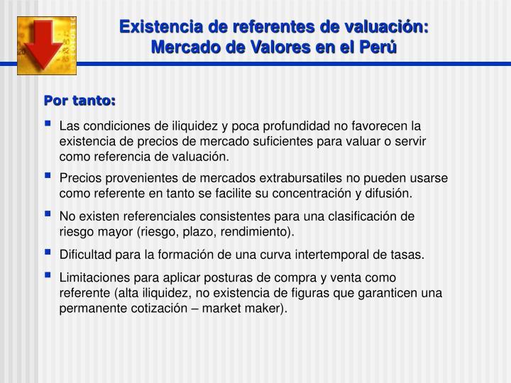 Existencia de referentes de valuación:
