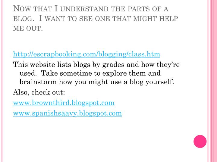 Now that I understand the parts of a blog.  I want to see one that might help me out.