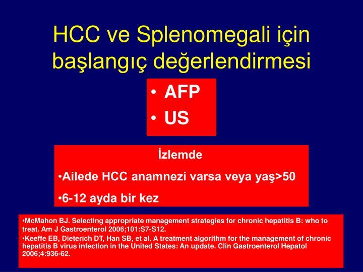 HCC ve Splenomegali için başlangıç değerlendirmesi