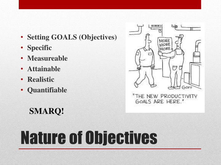 Setting GOALS (Objectives)