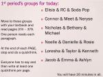 1 st period s groups for today
