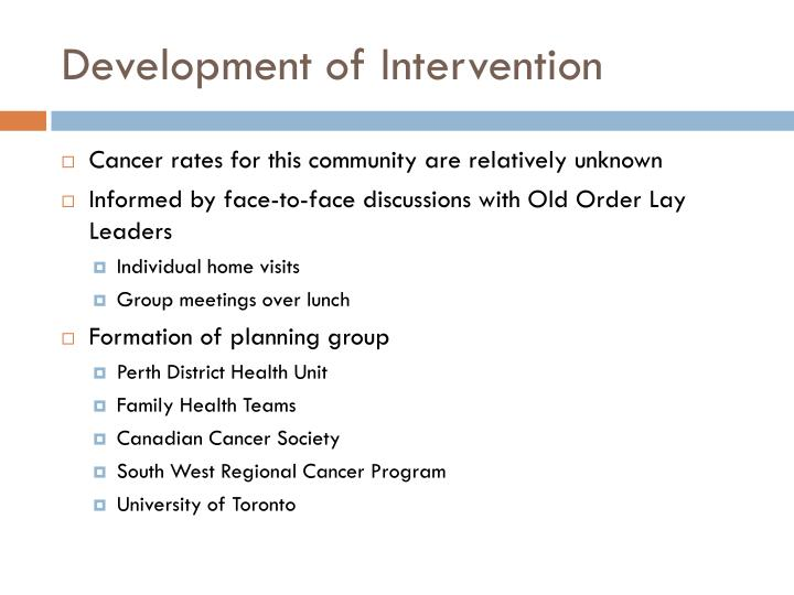 Development of Intervention