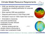 climate model resource requirements