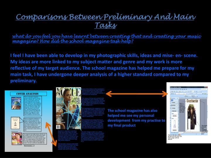 Comparisons Between Preliminary And Main Tasks