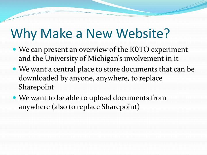 Why make a new website