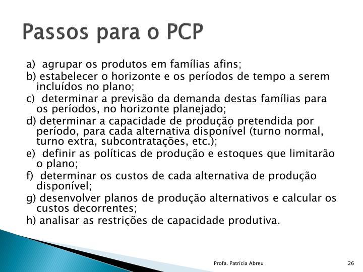 Passos para o PCP