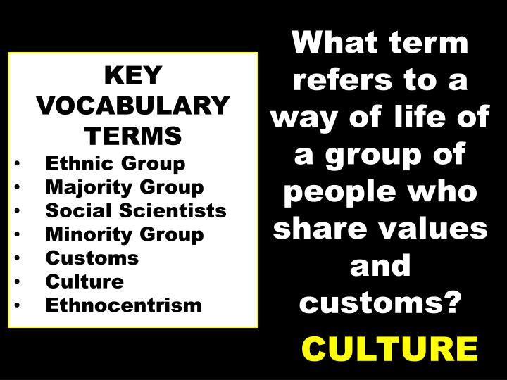 What term refers to a way of life of a group of people who share values and customs?
