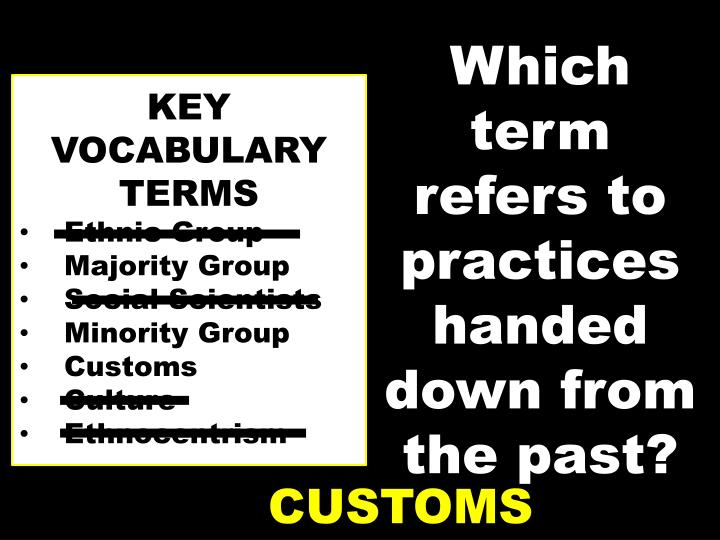 Which term refers to practices handed down from the past?