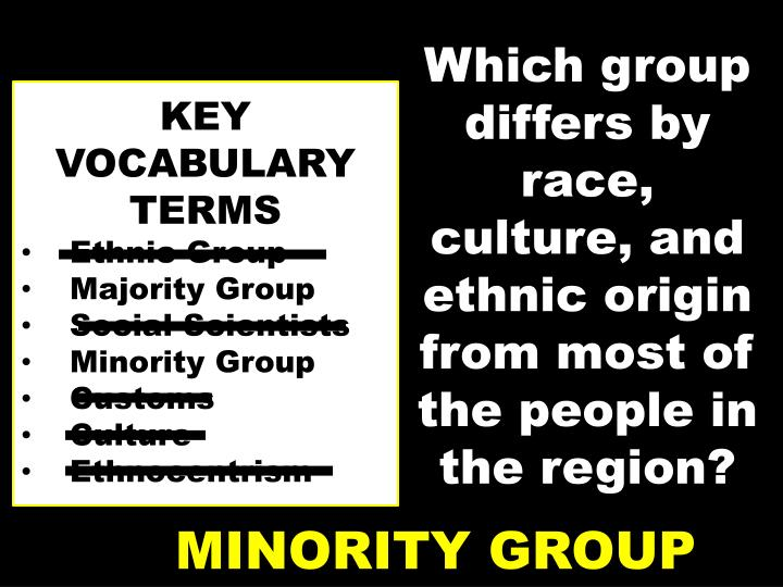 Which group differs by race, culture, and ethnic origin from most of the people in the region?