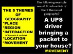 the following example would fit into which of the 5 themes of geography2
