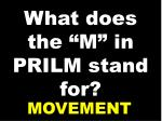 what does the m in prilm stand for