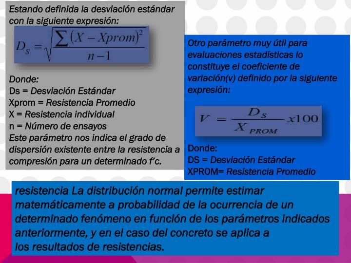Estando definida la desviación estándar con la siguiente expresión: