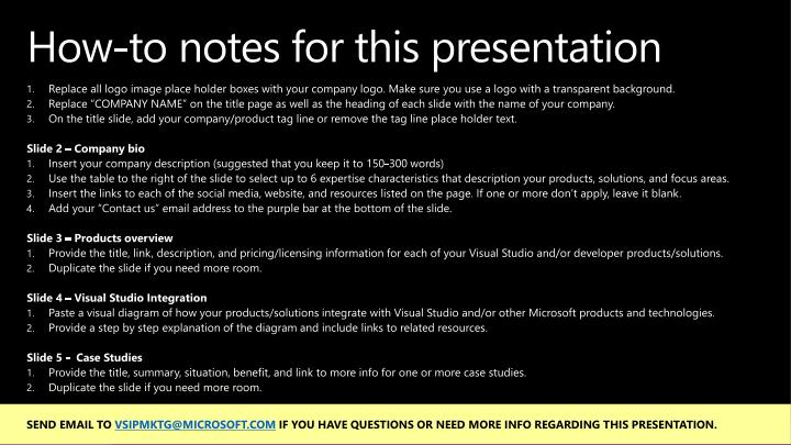 How to notes for this presentation