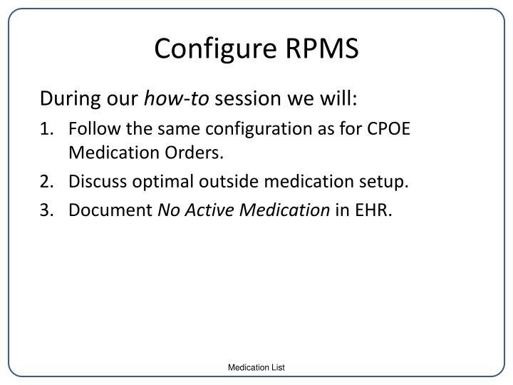 Configure RPMS