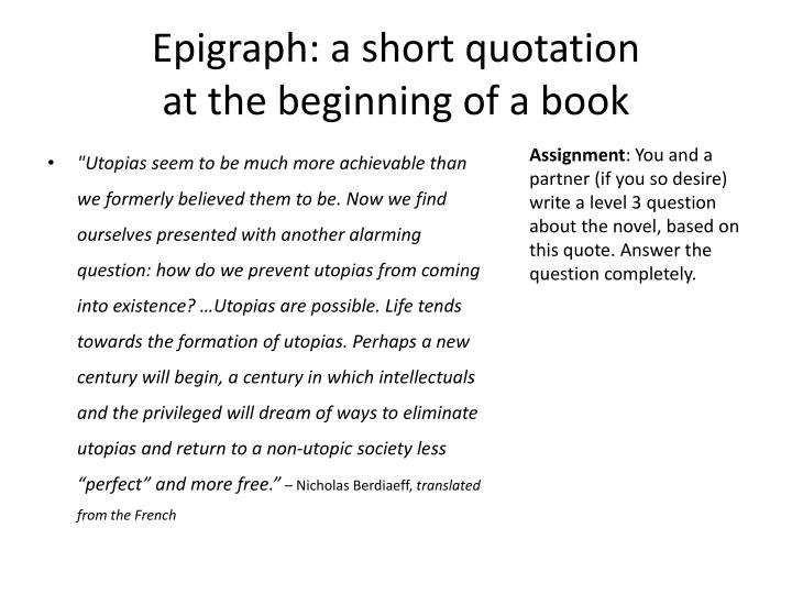 Epigraph: a short quotation