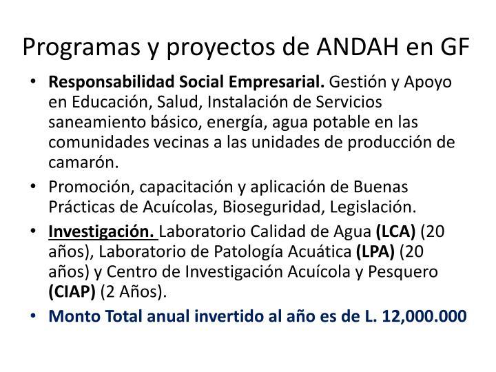 Programas y proyectos de ANDAH en GF