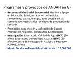 programas y proyectos de andah en gf1