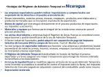 ventajas del r gimen de admisi n temporal en nicaragua