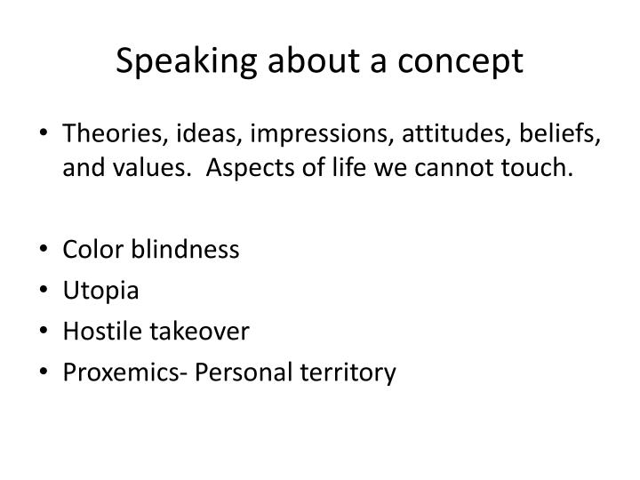 Speaking about a concept