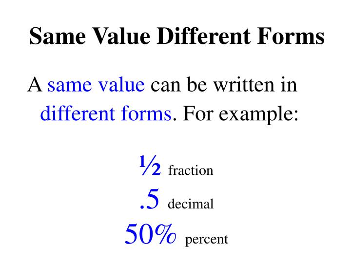 Same Value Different Forms
