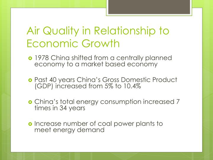 Air Quality in Relationship to Economic Growth