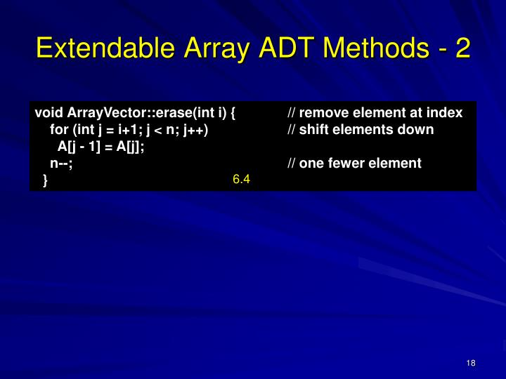 Extendable Array ADT Methods - 2