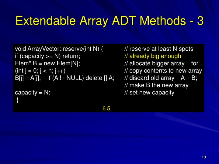 Extendable Array ADT Methods - 3