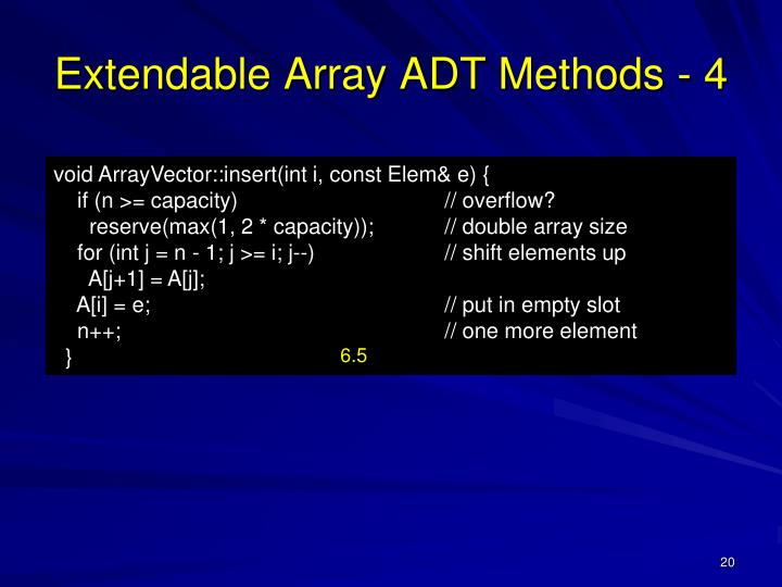 Extendable Array ADT Methods - 4