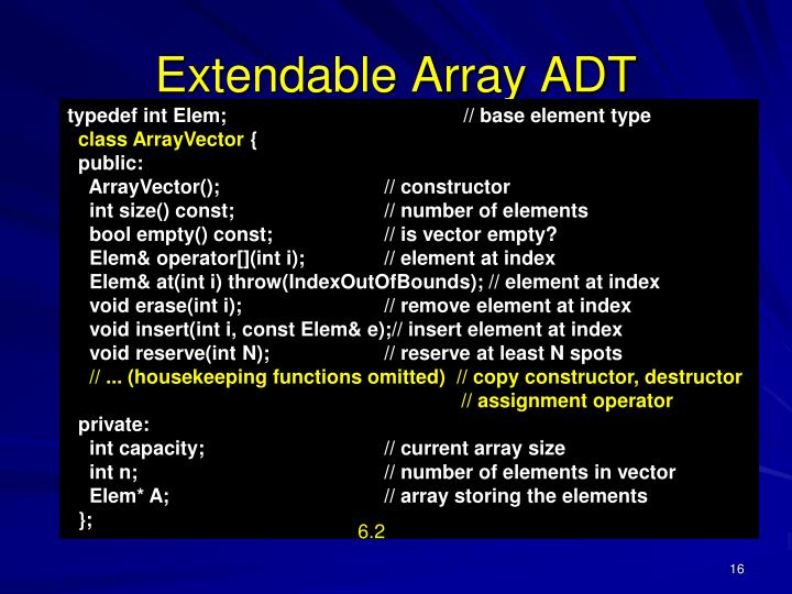 Extendable Array ADT
