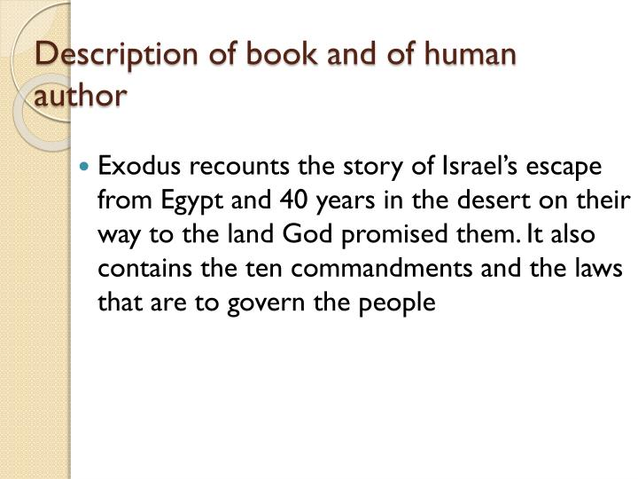 Description of book and of human author