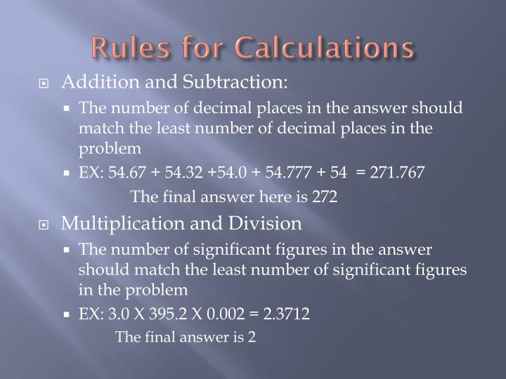 Rules for Calculations