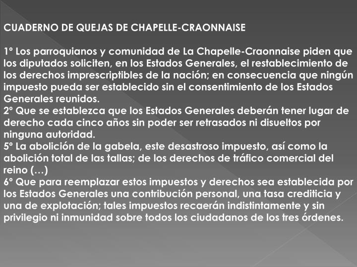 CUADERNO DE QUEJAS DE CHAPELLE-CRAONNAISE