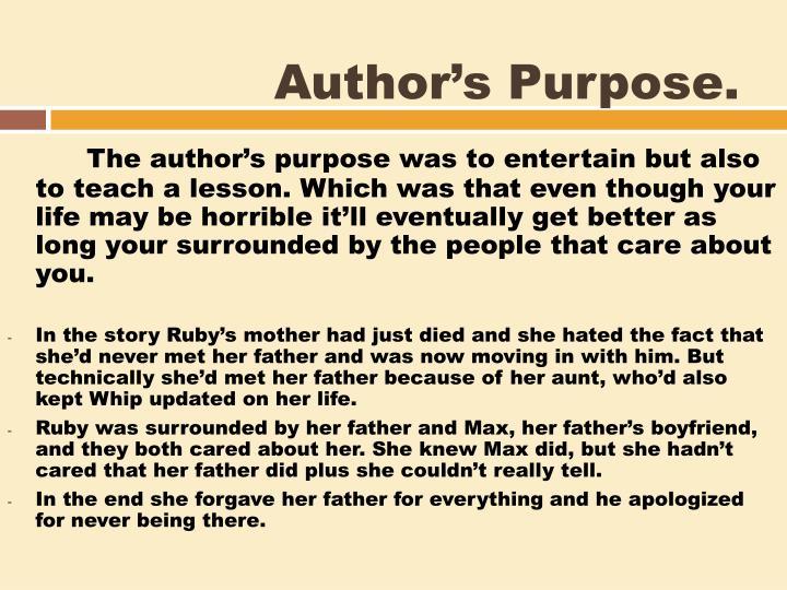 Author's Purpose.