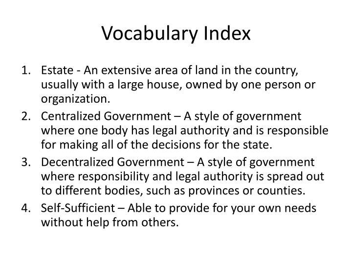 Vocabulary Index