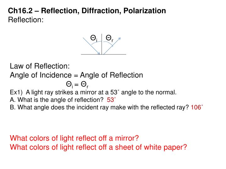 Ch16.2 – Reflection, Diffraction, Polarization