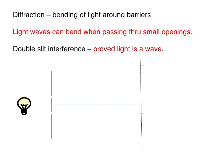 Diffraction – bending of light around barriers